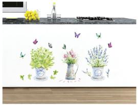Franse Bloempotten met Vlinders Muursticker