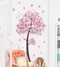 Muursticker Roze Vlinderboom