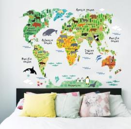 Kleurrijke Wereld Dieren Kaart Muursticker