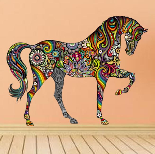 Gedetailleerde Kleurrijke Paarden Muursticker