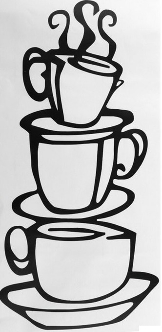 Koffiekopjes Keuken Muursticker