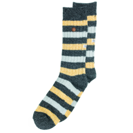 Alfredo Gonzales Sokken - Twisted Wool Stripes Black/Yellow/Grey
