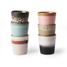 HKliving - Ceramic 70's Mugs - Set of 6 (ACE6750)