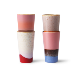 HKliving - Ceramic 70's Latte Mugs - Set of 4 (ACE6911)