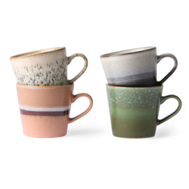 HKliving - Ceramic 70's Cappuccino Mugs - Set of 4 (ACE6864)