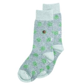 Alfredo Gonzales Sokken - Twisted Wool Dots Grey/Green