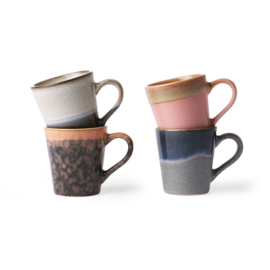 HKliving - Ceramic 70's Espresso Mugs - Set of 4 (ACE6867)