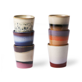 HKliving - Ceramic 70's Mugs - Set of 6 (ACE6857)