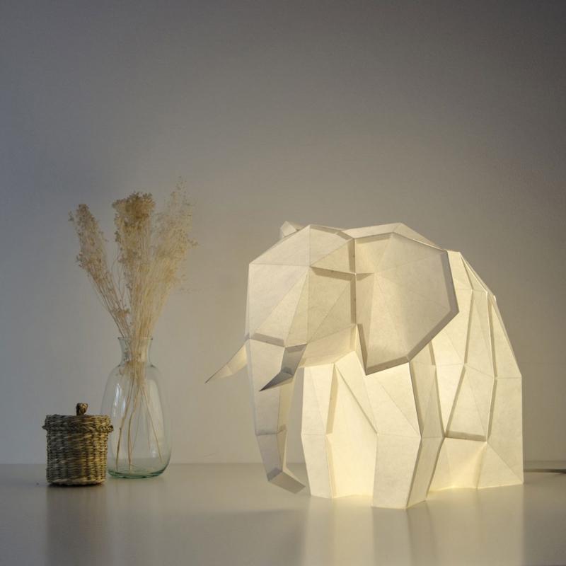 OWL Paperlamps - Big Elephant Cotton White