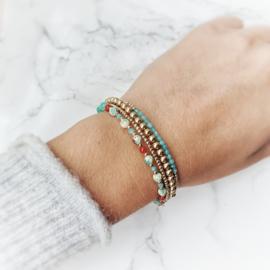 Armband goud & Amazoniet | Lou
