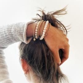 Set armbandjes goud | Parels