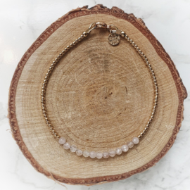 Mama armband met rozenkwarts  | Goud