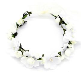 Haarband / Bloemenkrans - witte bloemen boho festival