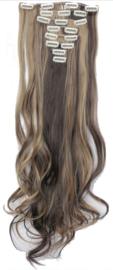Synthetische clip in hair extension set / Bruin - blond #4-24  / 60 cm