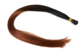 Synthetische feathers / ombre zwart - bruin  / 55 cm