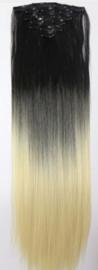 Synthetische clip in hair extension set / ombre zwart - blond / 55 cm