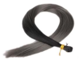 Synthetische feathers / ombre zwart - donker grijs / 55 cm