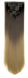 Synthetische clip in hair extension set / ombre 4h24 / 60 cm