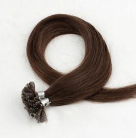 50 U-tip wax hair extensions /medium bruin #4 / 0,5 gram / Synthetisch + echt haar