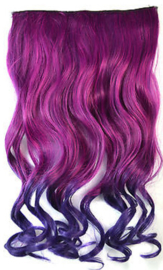 Clip in hair extension strook / Ombre golvend roze - paars  / 60 cm