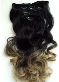Synthetische clip in hair extension set / Ombre #1B/27 / 40 cm