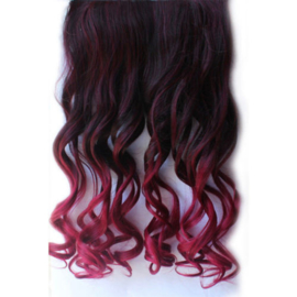Clip in hair extension strook/ Ombre zwart - rood / 50 cm