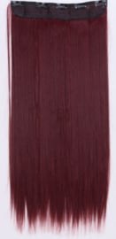 Losse clip in hair strook / rood stijl / 50 cm