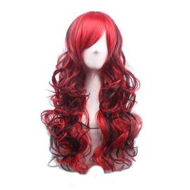 Pruik / Ombre zwart - rood / 70 cm