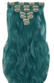 Synthetische clip in hair extension set / Turquoise golvend / 48 cm
