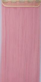 Clip in hair extensions strook / Licht roze stijl / 66 cm
