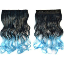 Clip in hair extension strook / Ombre golvend roze - paars  / 55 cm