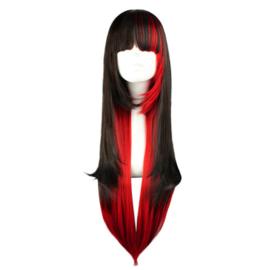 Pruik/ zwart  met rood / shadow night  / 70 cm
