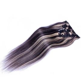 Clip in hair extensions set donker bruin - blond 2-613# /  70 gram / 50 cm