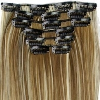 Synthetische clip in hair  extension set / Mixed  #6/613/ 60 cm