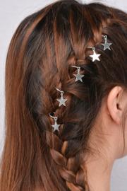 Festival haarbedels / Set: '' Silver star  / 5 stuks + 5 ringen