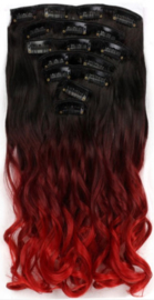 Synthetische clip in extension set / ombre zwart - rood golvend / 50 cm