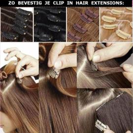 Clip in hair extensions strook / zwart 1b# / 66 cm