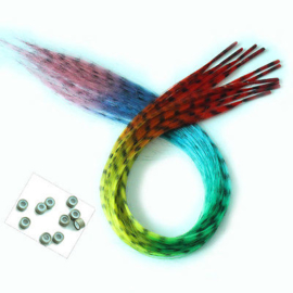 Synthetische feathers / grizzly regenboog  / 55 cm
