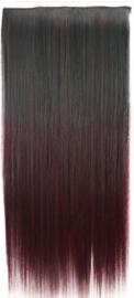 Losse clip in hair strook / Ombre - zwart wijn rood stijl / 60 cm