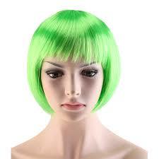 Pruik / groen / korte bob / 25 cm