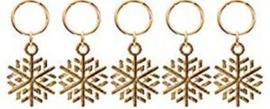 Festival haarbedels / Gouden sneeuwvlok + ring / 1 stuk