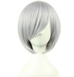 Pruik / grijs - kort / 30 cm