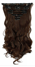 Synthetische clip in hair extensions set / Bruin  #M4 / 55 cm