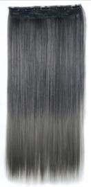 Clip in hair extensions strook / Ombre zwart - donker grijs / 60 cm