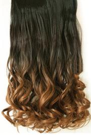Clip in hair extensions strook / Ombre zwart 1b# / bruin  golvend / 60 cm