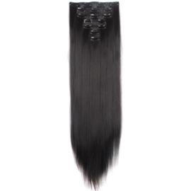 Synthetische clip in extensions set / zwart #1  / 60 cm