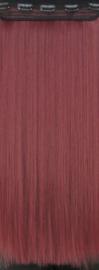 Clip in extension strook / wijn rood  / 50 cm