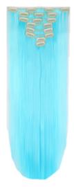 Synthetische clip in hair extension set / licht blauw / 66 cm