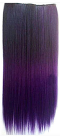 Clip in hair extensions strook / Donker paars  / 55 cm