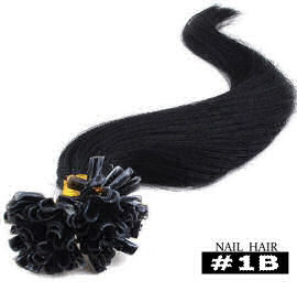 50 U-tip extensions / zwart  / #1b / 0,5 gram /  Synthetisch + echt haar